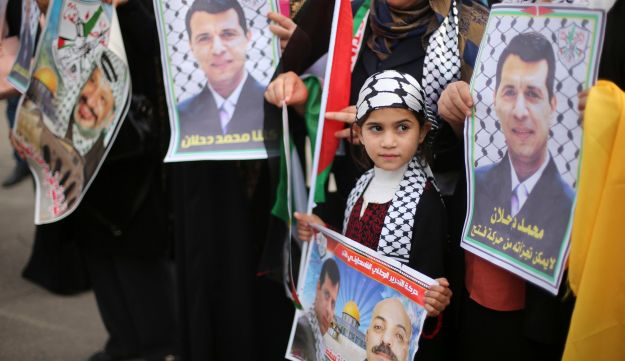 Palestinian supporters of former head of Fatah in Gaza, Mohammed Dahlan