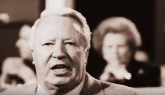 A screenshot of Edward Heath, the Prime Minister of the United Kingdom between 1970 and 1974.
