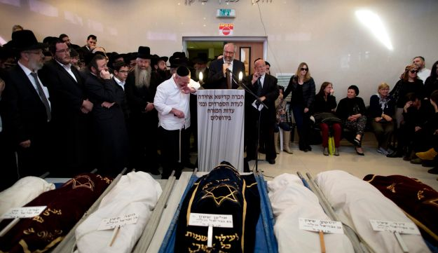 Funeral of children killed in Brooklyn fire, Jerusalem, Monday, March 23, 2015.
