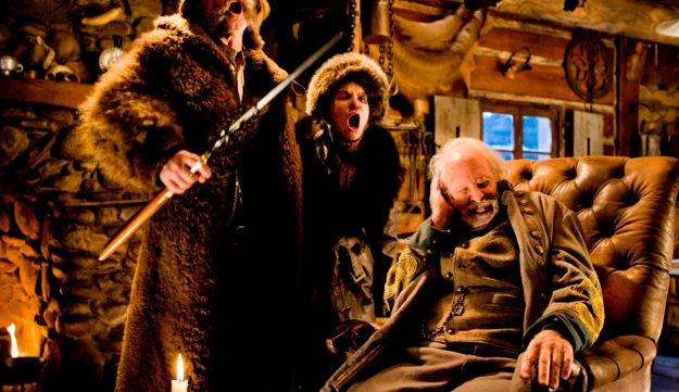 This image released by The Weinstein Company shows Kurt Russell, from left, Jennifer Jason Leigh and Bruce Dern in a scene from the film, 'The Hateful Eight.'