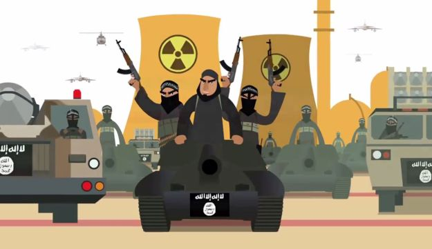 A screengrab from the Israeli video likening Iran to ISIS, released June 30, 2015.