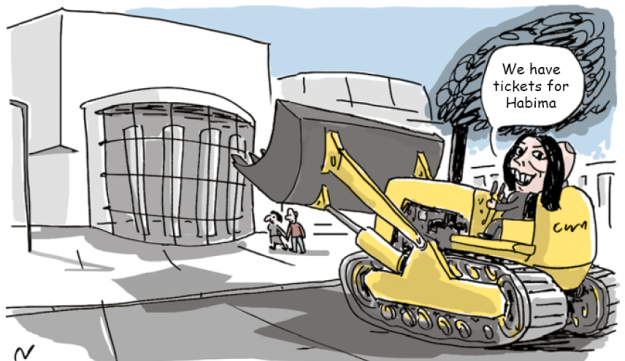 Israel's Culture Minister Regev to propose 'loyalty bill' in bid to control artistic funding, here represented in the form of a bulldozer aimed at Israel's National Theater.