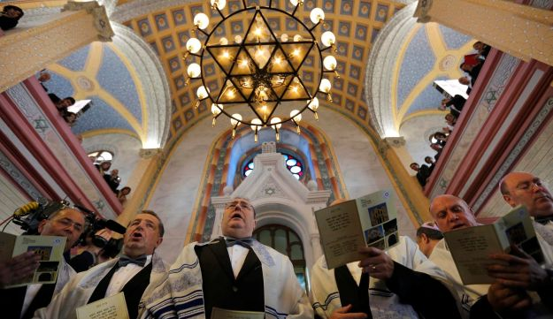 Jewish community members attend the re-opening ceremony of Great Synagogue in Edirne, western Turkey