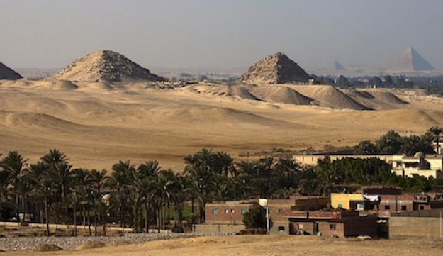 General view of the pyramid field of Abusir