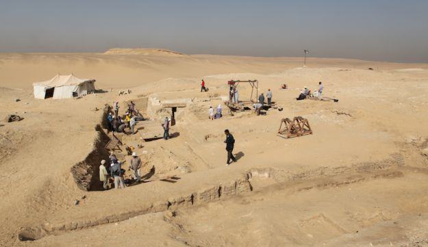View of the site where the 4,500-year old wooden boat was discovered - in a non-royal grave in the cemetery of Abusir, just south of Cairo.