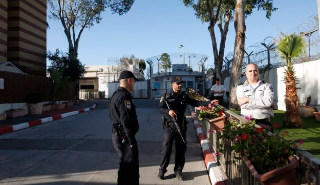 Security personnel at Ma'asiyahu Prison prepare for the arrival of ex-Prime Minister Ehud Olmert.