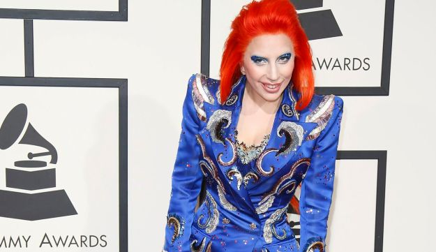 Lady Gaga in David Bowie-inspired makeup at the 58th Grammy Awards in Los Angeles, February 15, 2016.