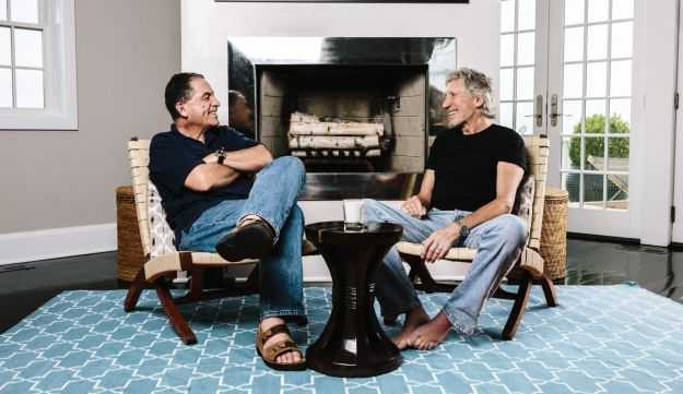 Roger Waters and Gideon Levy at the singer's home in the Hamptons.