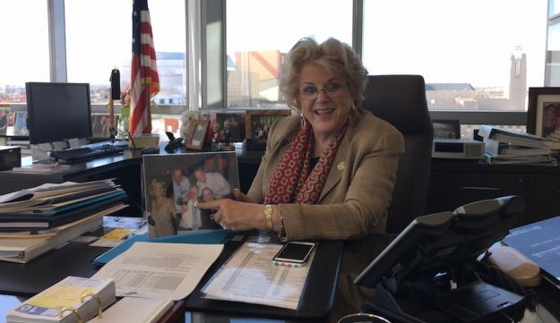 "Las Vegas Mayor Carolyn Goodman, showing a family photo in her office, says the ""Clinton names means a whole lot here,"" Feb. 10, 2016."