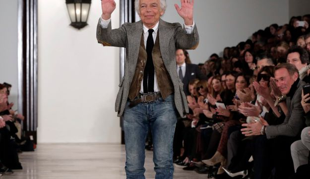 Designer Ralph Lauren acknowledges audience applause during Fashion Week in New York, February 18, 2016.