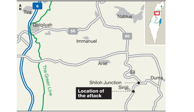 Location of Thursday's suspected terror attack in the West Bank.