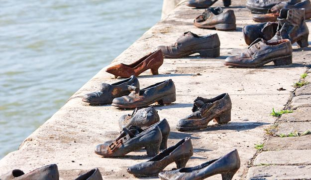 Shoes On Bank Of Danube River, Hungary.