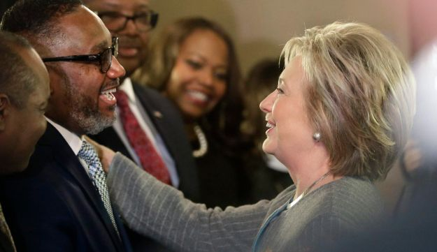 Democratic presidential candidate Hillary Clinton meets with African American ministers in Detroit. March 5, 2016.