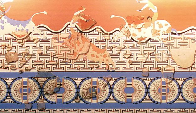 Reconstructed Minoan wall fresco from Tell El-Dab'a, the archaeological site identified with the Hyksos capital of Avaris. This fresco is at the Heraklion Archaeological Museum in Crete.