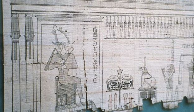 A section of the Egyptian Book of the Dead written on papyrus.