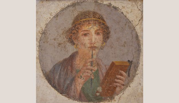 The iPad of antiquity: Fresco from Pompeii showing a woman holding a waxed tablet.