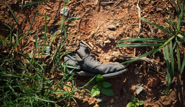 A shoe left at the site of Leo Frank's lynching.