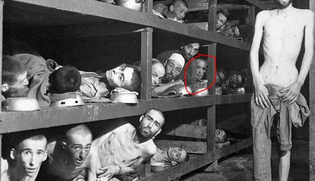 Elie Wiesel, highlighted in red, and other inmates in Buchenwald camp, 1945.