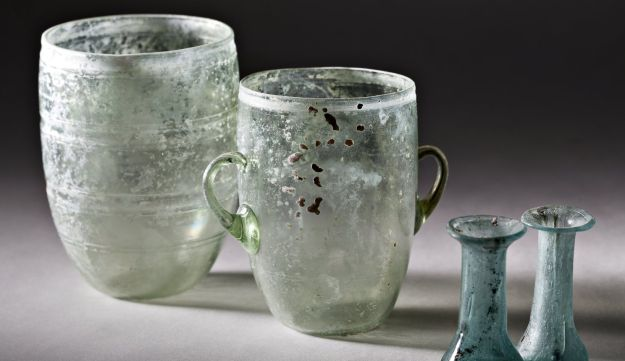 Glassware, about 2,000 years old, found in a burial cave in Jerusalem.