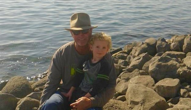 Jerry Narron and grandson Aviel Mitchell at Israel's Sea of Galilee, December 2014.