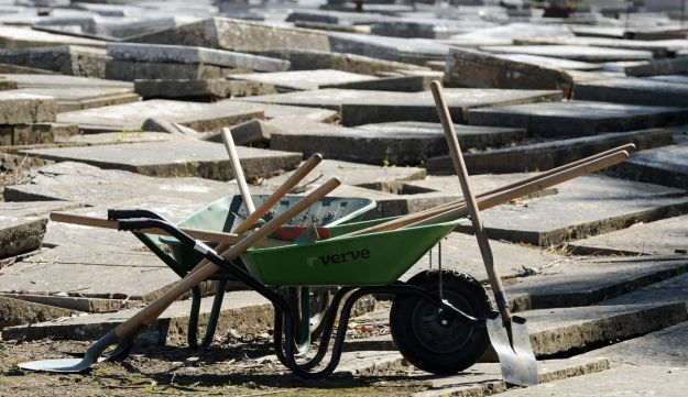 Wheel barrels, shovels and other materials used to help restore a Jewish cemetary in Bayonne