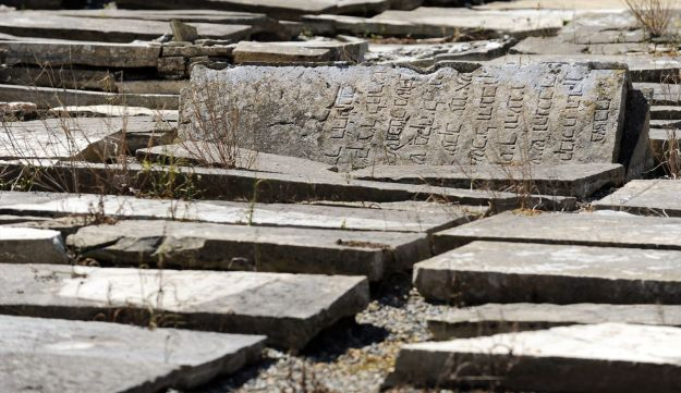 The dilapidated tombs of a Jewish cemetary in Bayonne that is currently undergoing a restoration