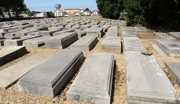 The tombs of a Jewish cemetery in Bayonne that is currently undergoing a restoration project.