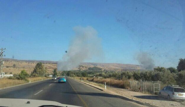 The site of the explosion in northern Israel, by the border with Lebanon.