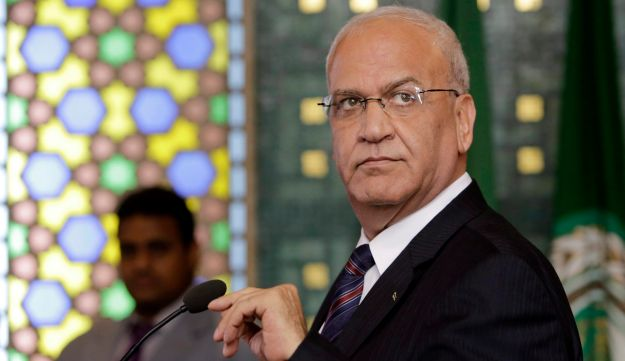 Saeb Erekat at the Arab League headquarters in Cairo, Egypt, Monday, Aug. 11, 2014.