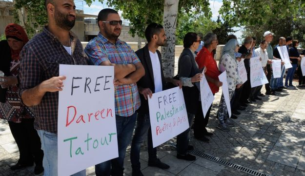 Supporters of Dareen Tatour outside the courthouse in Nazareth, May 8, 2016.