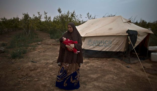Mona Hussein, 33, after giving birth to her child, Aug. 4, 2015