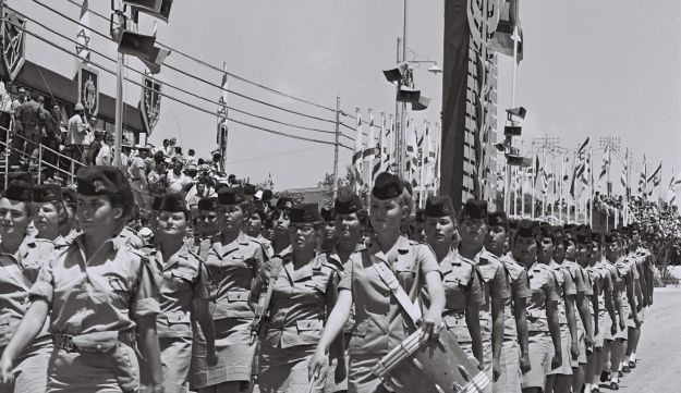 Female soldiers march in the Independence Day parade in Jerusalem in 1968. That year's parade was the first broadcast by Israeli television.