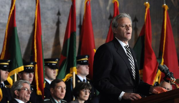 Michael Oren shown speaking at the Holocaust Day of Remembrance ceremony at the U.S. Capitol in 2010