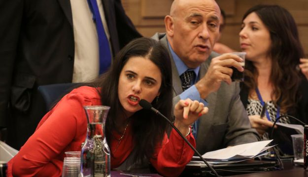 Ayelet Shaked making a point about budgets for Israeli settlements at a Knesset commitee meeting