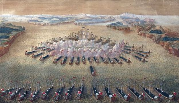 The Battle of Gangut, a Russian victory in the Great Northern War