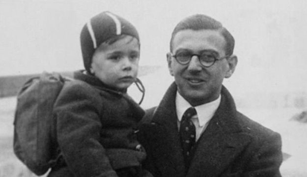 """Nicholas Winton with a rescued child in a still from the 2011 documentary """"Nicky's Family."""" (Menemsha Films)"""