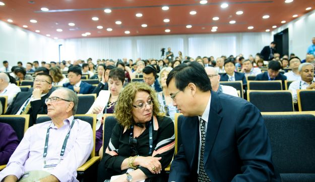 One of the events at the Third Global Entrepreneurship and Innovation Conference at Ben Gurion University of the Negev, which was attended by a huge 130-man delegation from Chinese universities, business and government. Center, front row, wearing glasses: BGU President Prof. Rivka Carmi.