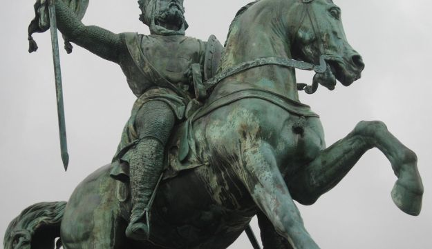 A statue of Godfrey of Bouillon, a medieval Frankish knight and among the leaders of the First Crusade from 1096 until his death in 1100, in Brussels.