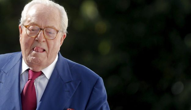 French Far-Right Front National founder Jean-Marie Le Pen arrives for a news briefing in Nanterre, n