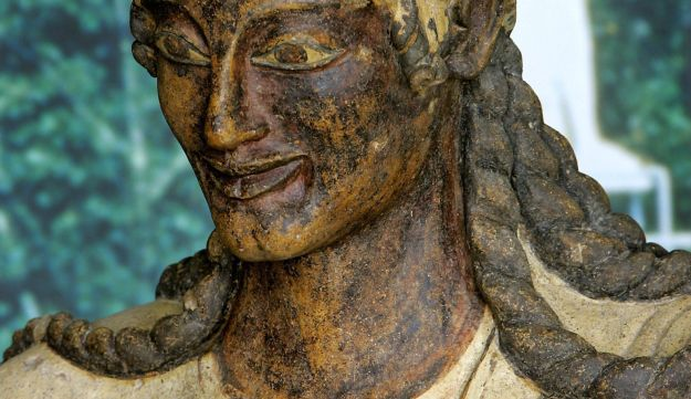 A polychrome terracotta statue of Apollo, made by the Etruscans in the late 6th century BCE, from Veio; displayed at the Etruscan Museum of Valle Giulia in Rome.