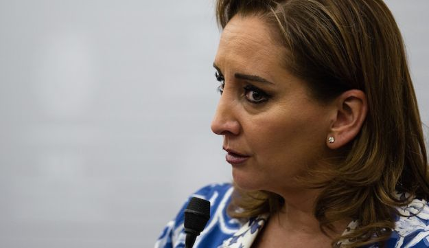 Claudia Ruiz Massieu, Mexico's secretary of foreign affairs, delivering a speech at her ministry in Mexico City, May 24, 2016.