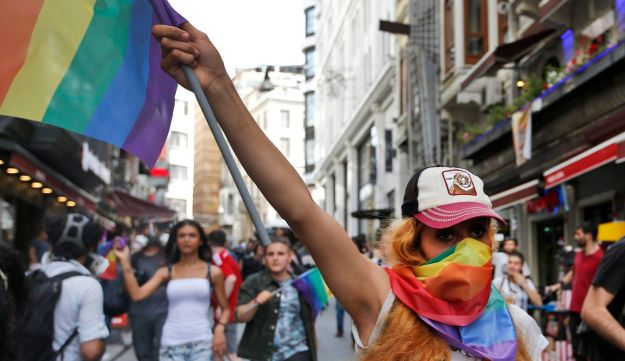 People protests against the ban on a gay pride march, off Istiklal Avenue, central Istanbul's main shopping road, Sunday, June 19, 2016.
