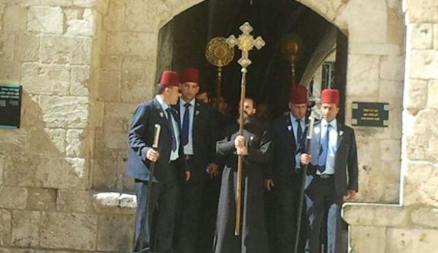 Greek Orthodox clergy lead a procession to Pentecost prayers at Mt. Zion, June 19, 2016.