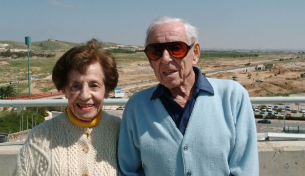 Dr. Howard Marcus and Lottie Marcus during a 2005 visit to the Ben-Gurion University campus named after their family.