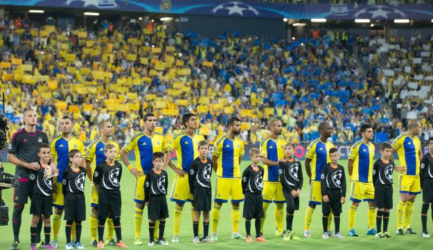 The Maccabi Tel Aviv Players Line Up Before A Recent Champions League Game In Haifa