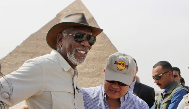 Morgan Freeman, left, is welcomed by Egyptian Tourism Minister Hisham Zaazou, as he visits the Giza