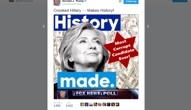 "Screen grab of Donald Trump's tweet of an image of Hillary Clinton with the words ""Most Corrupt Candidate Ever"" on a Star of David-like form. July 2, 2016."