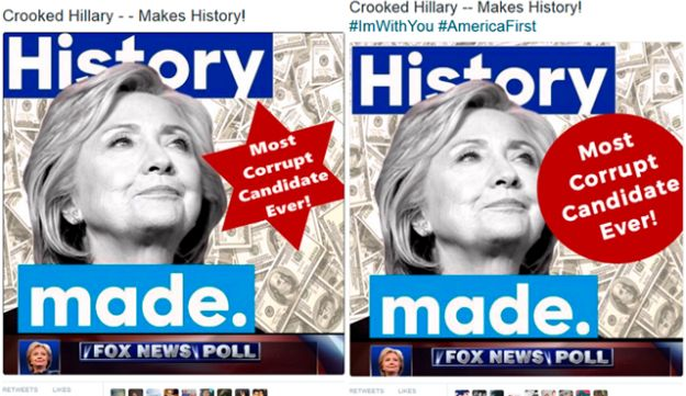 """Before and after: Screen grab of Donald Trump's tweets of an image of Hillary Clinton with the words """"Most Corrupt Candidate Ever,"""" first (R) on a Star of David-like form, then (L) on a circle. July 2, 2016."""