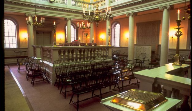 A view inside the oldest synagogue building in North America in Newport, Rhode Island.