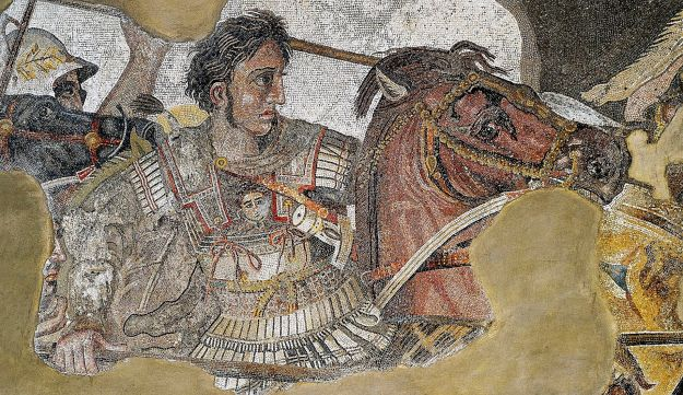 Mosaic found in Pompeii showing Alexander the Great fighting king Darius III of Persia